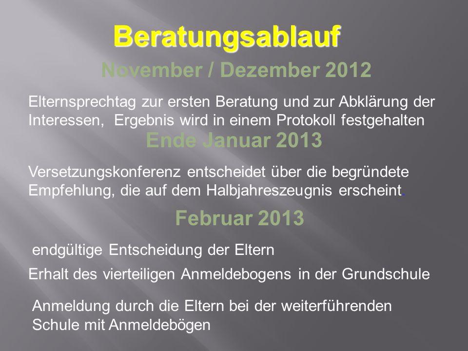 Beratungsablauf November / Dezember 2012 Ende Januar 2013 Februar 2013