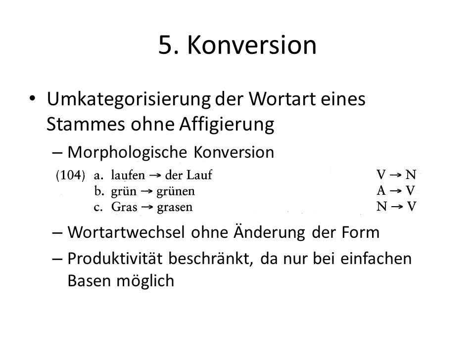 5. Konversion Umkategorisierung der Wortart eines Stammes ohne Affigierung. Morphologische Konversion.