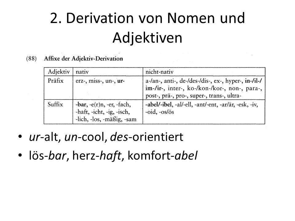 2. Derivation von Nomen und Adjektiven
