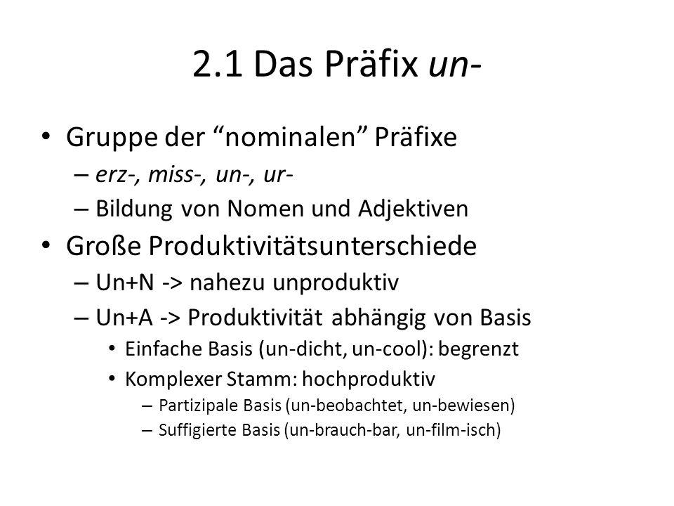 2.1 Das Präfix un- Gruppe der nominalen Präfixe