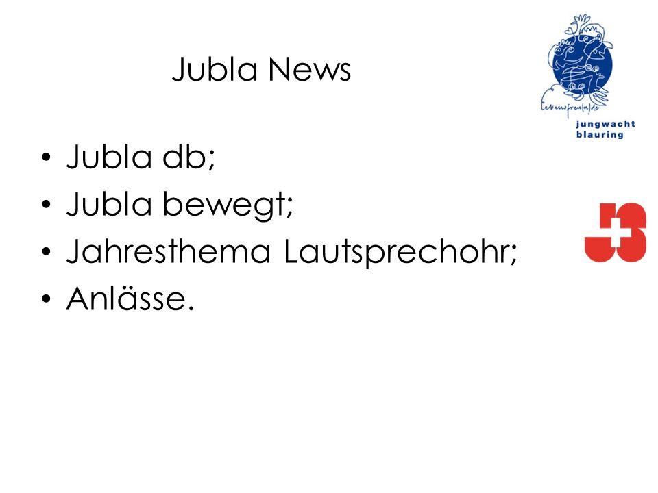Jubla News Jubla db; Jubla bewegt; Jahresthema Lautsprechohr; Anlässe.