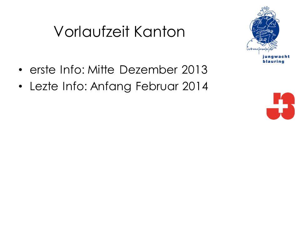 Vorlaufzeit Kanton erste Info: Mitte Dezember 2013