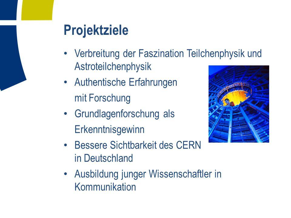 Projektziele Verbreitung der Faszination Teilchenphysik und Astroteilchenphysik. Authentische Erfahrungen.