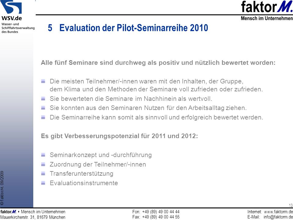5 Evaluation der Pilot-Seminarreihe 2010