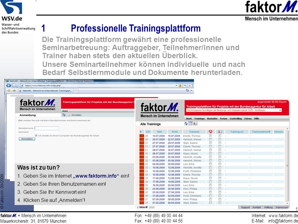 1 Professionelle Trainingsplattform