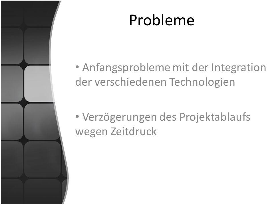 Probleme Anfangsprobleme mit der Integration der verschiedenen Technologien.