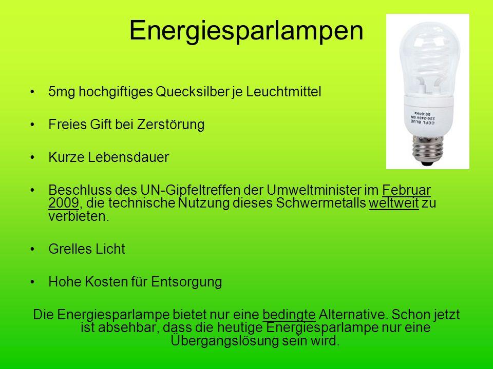 Energiesparlampen 5mg hochgiftiges Quecksilber je Leuchtmittel