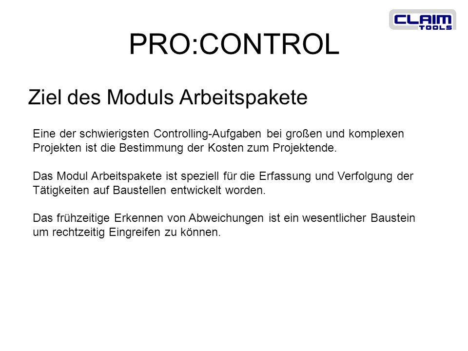 PRO:CONTROL Ziel des Moduls Arbeitspakete