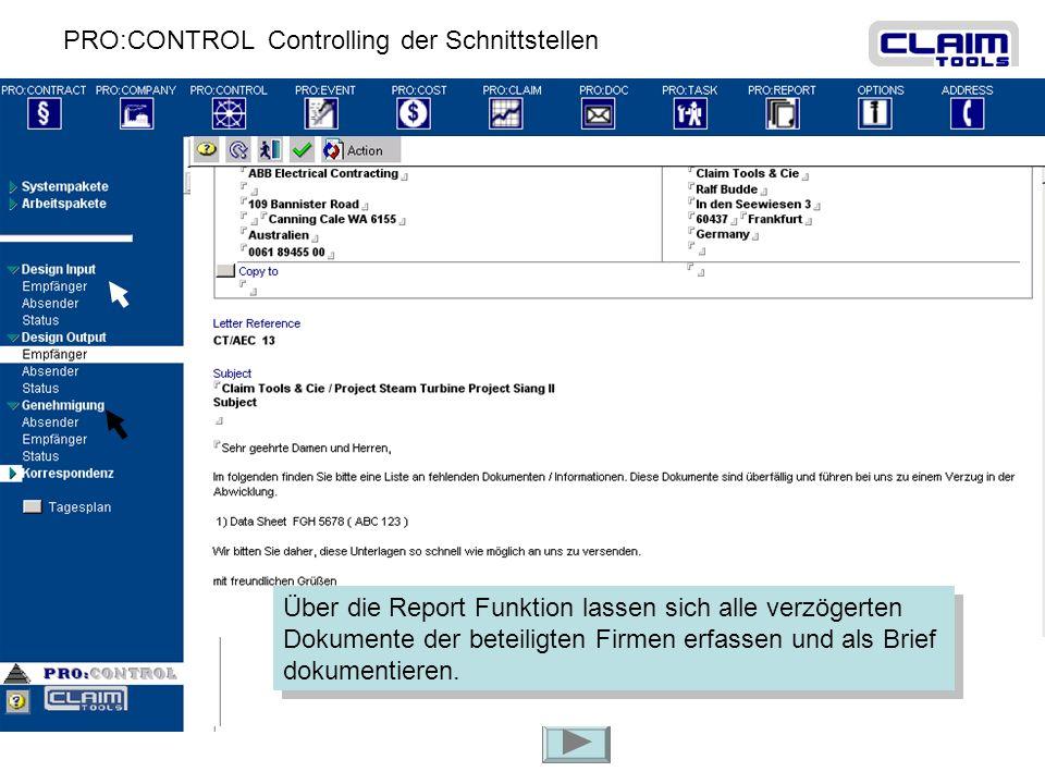 PRO:CONTROL Controlling der Schnittstellen