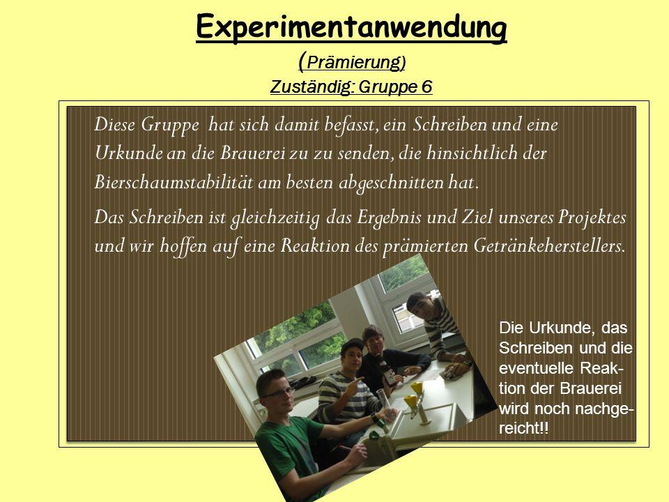 Experimentanwendung (Prämierung) Zuständig: Gruppe 6