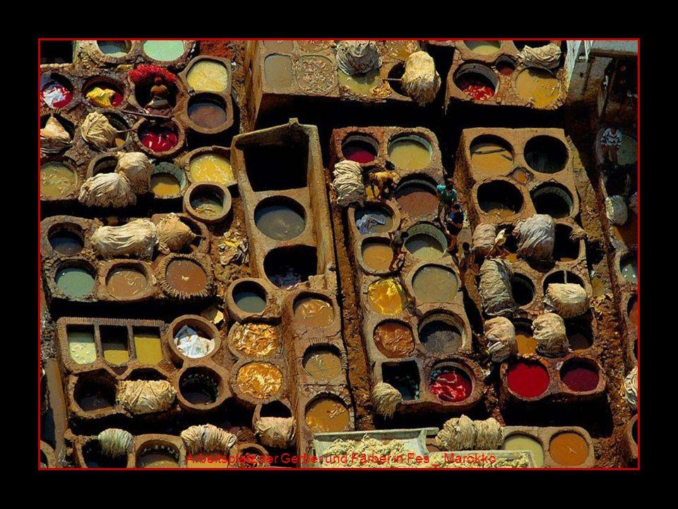Arbeitsplatz der Gerber und Färber in Fes _ Marokko