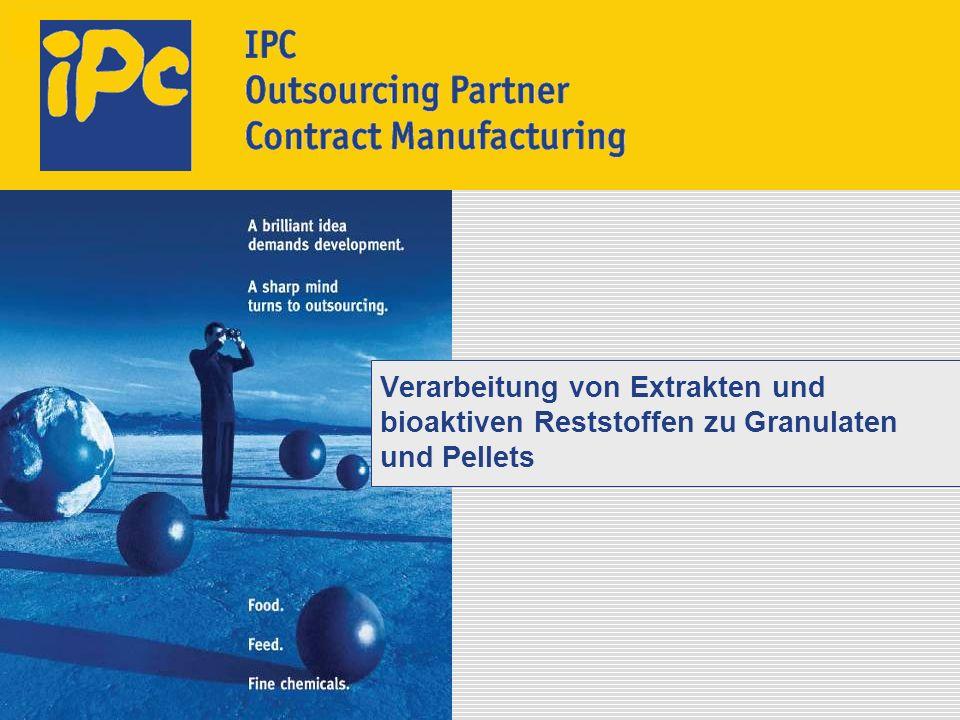 Verarbeitung von Extrakten und bioaktiven Reststoffen zu Granulaten und Pellets