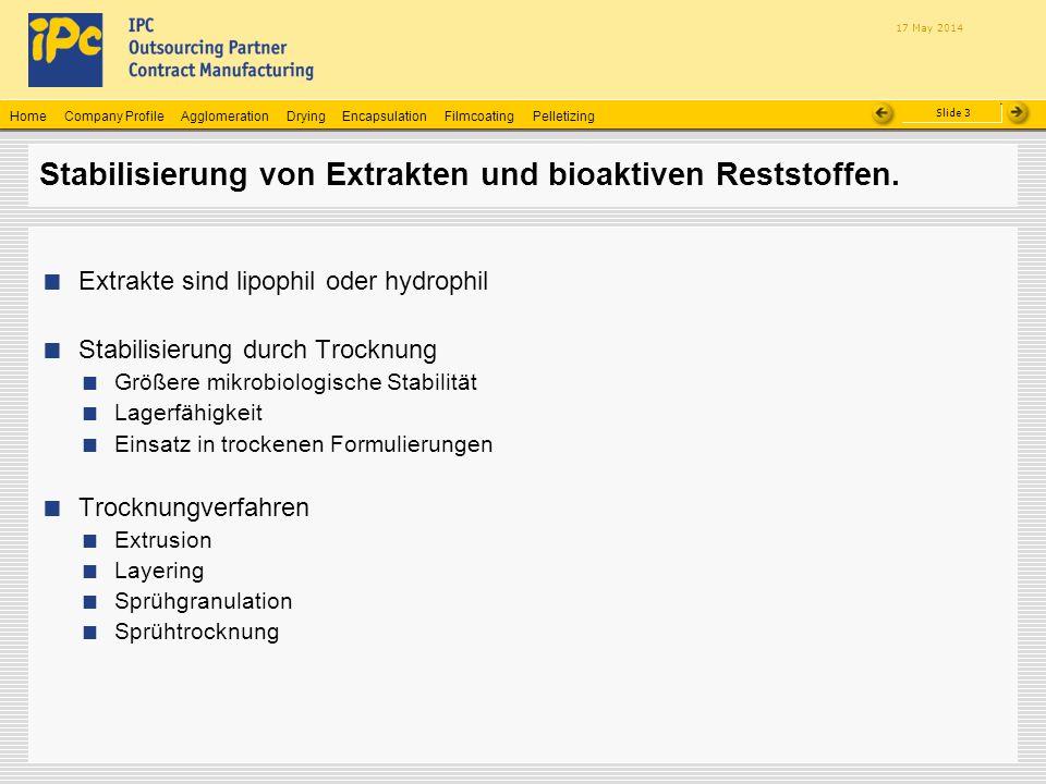 Stabilisierung von Extrakten und bioaktiven Reststoffen.