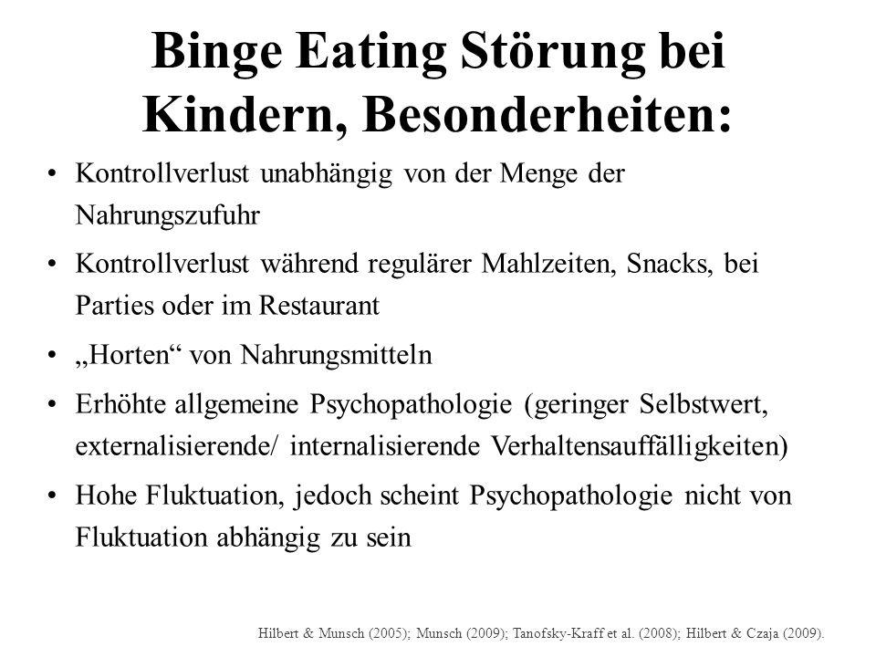 Binge Eating Störung bei Kindern, Besonderheiten: