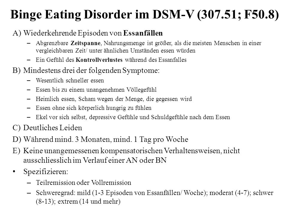 Binge Eating Disorder im DSM-V (307.51; F50.8)