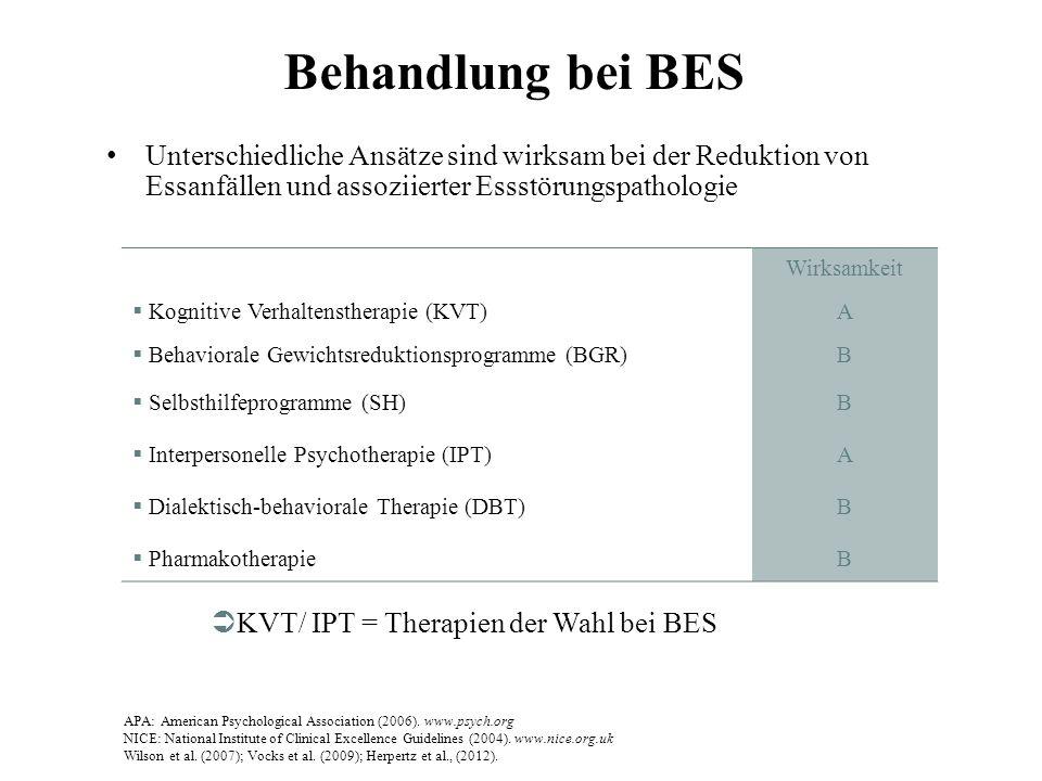 Behandlung bei BES Unterschiedliche Ansätze sind wirksam bei der Reduktion von Essanfällen und assoziierter Essstörungspathologie.