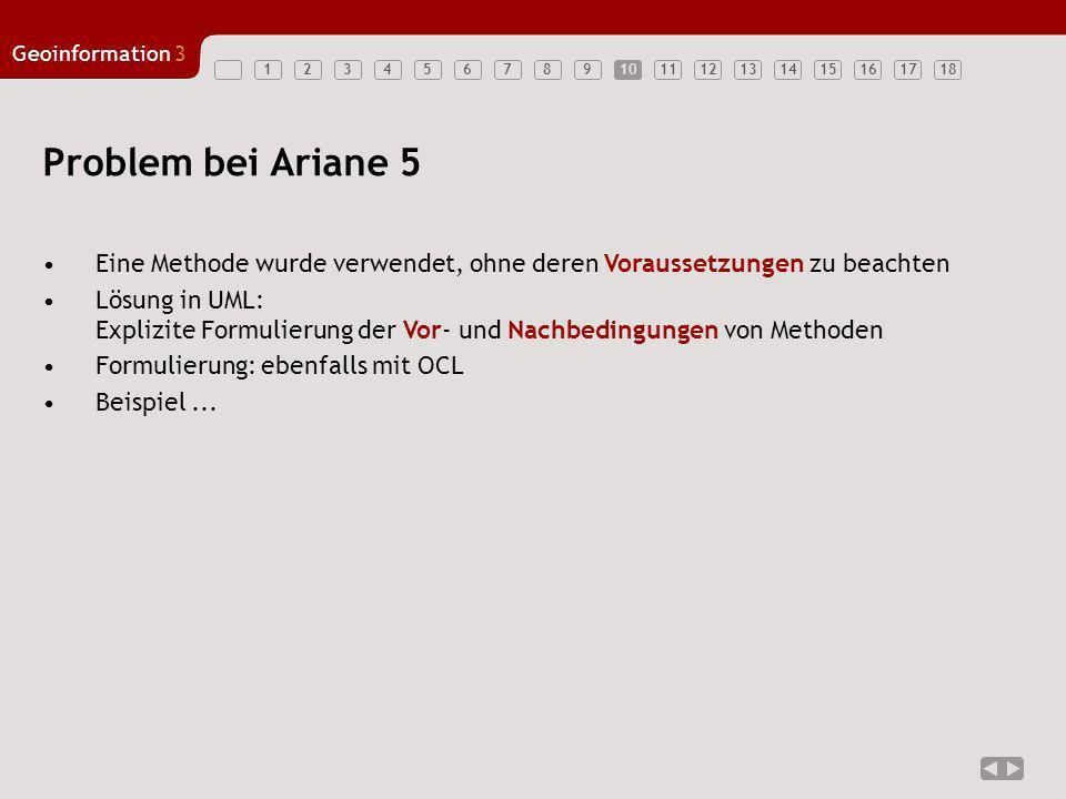 10 Problem bei Ariane 5. Eine Methode wurde verwendet, ohne deren Voraussetzungen zu beachten.