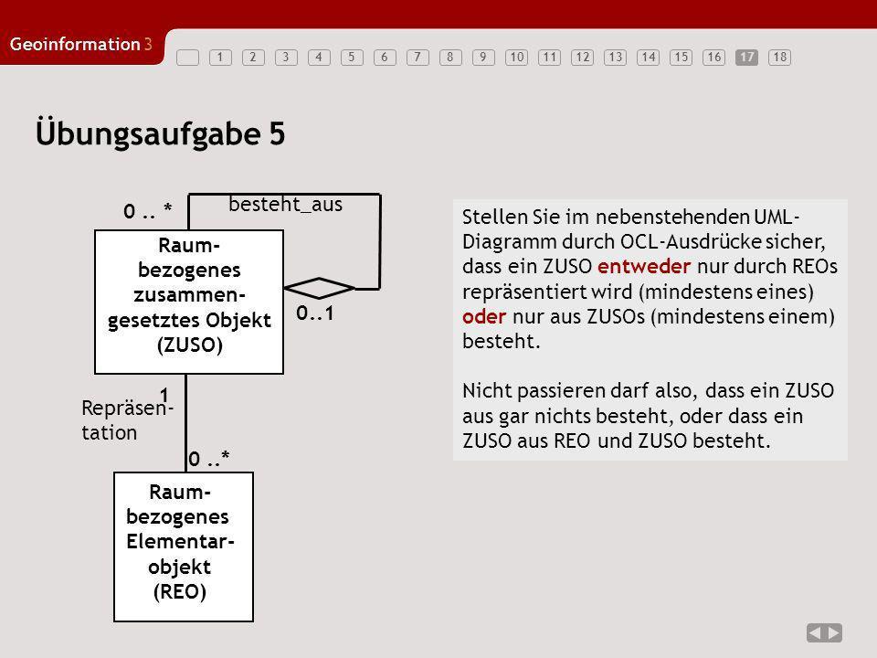 Übungsaufgabe 5 besteht_aus 0 .. * Stellen Sie im nebenstehenden UML-