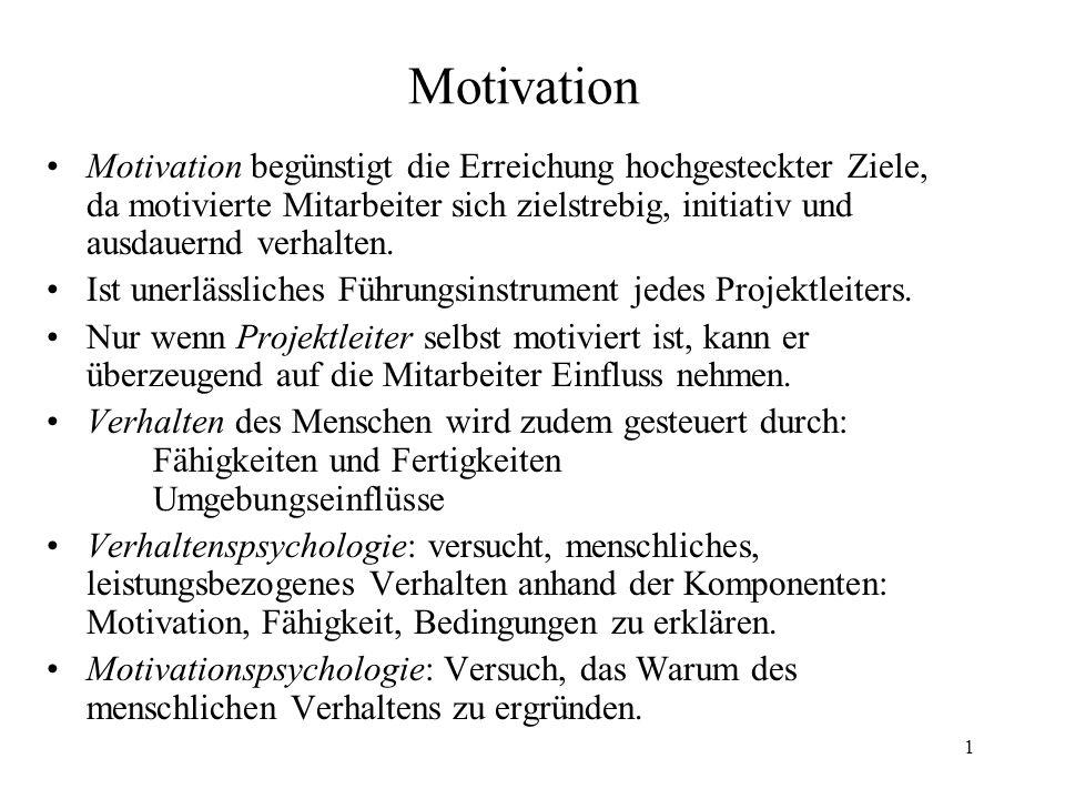 Motivation Motivation begünstigt die Erreichung hochgesteckter Ziele, da motivierte Mitarbeiter sich zielstrebig, initiativ und ausdauernd verhalten.