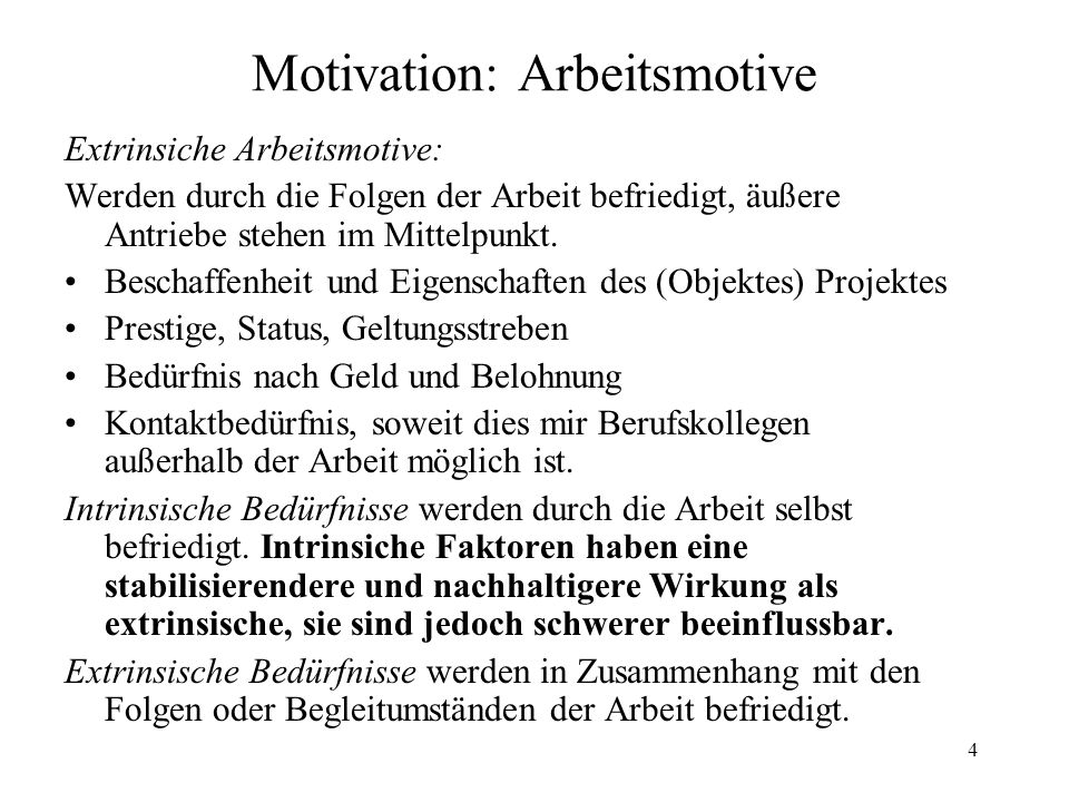 Motivation: Arbeitsmotive
