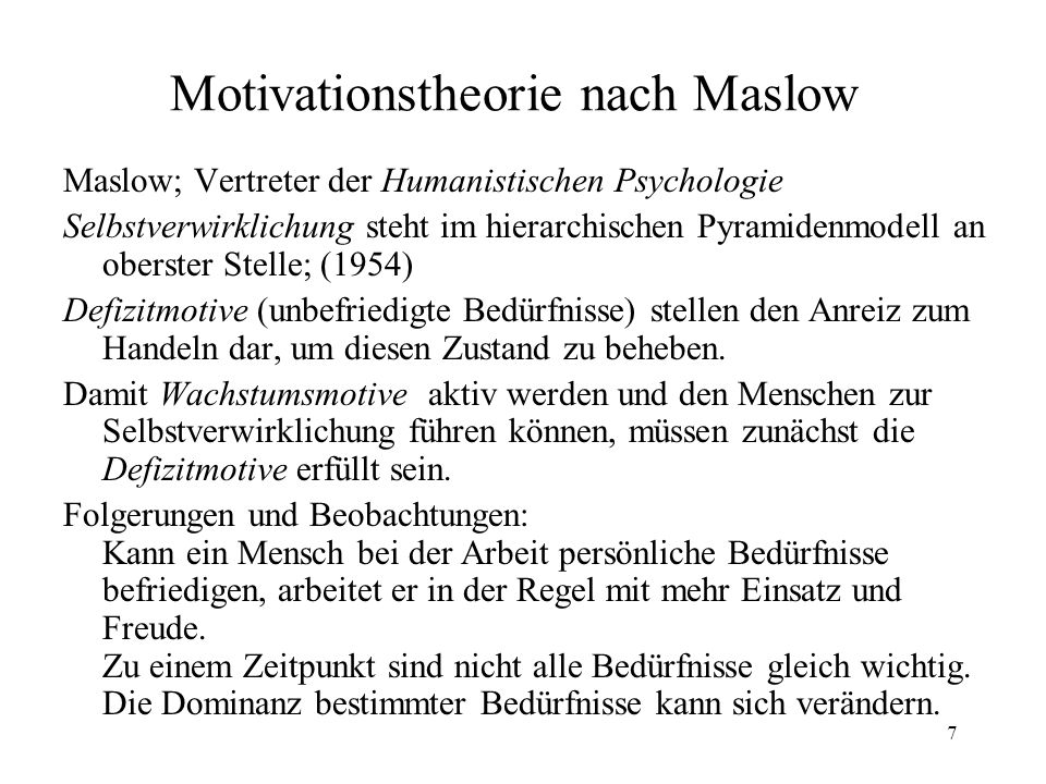 Motivationstheorie nach Maslow