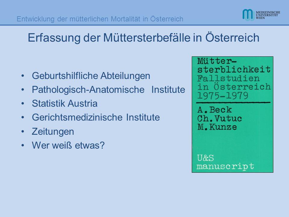Erfassung der Müttersterbefälle in Österreich