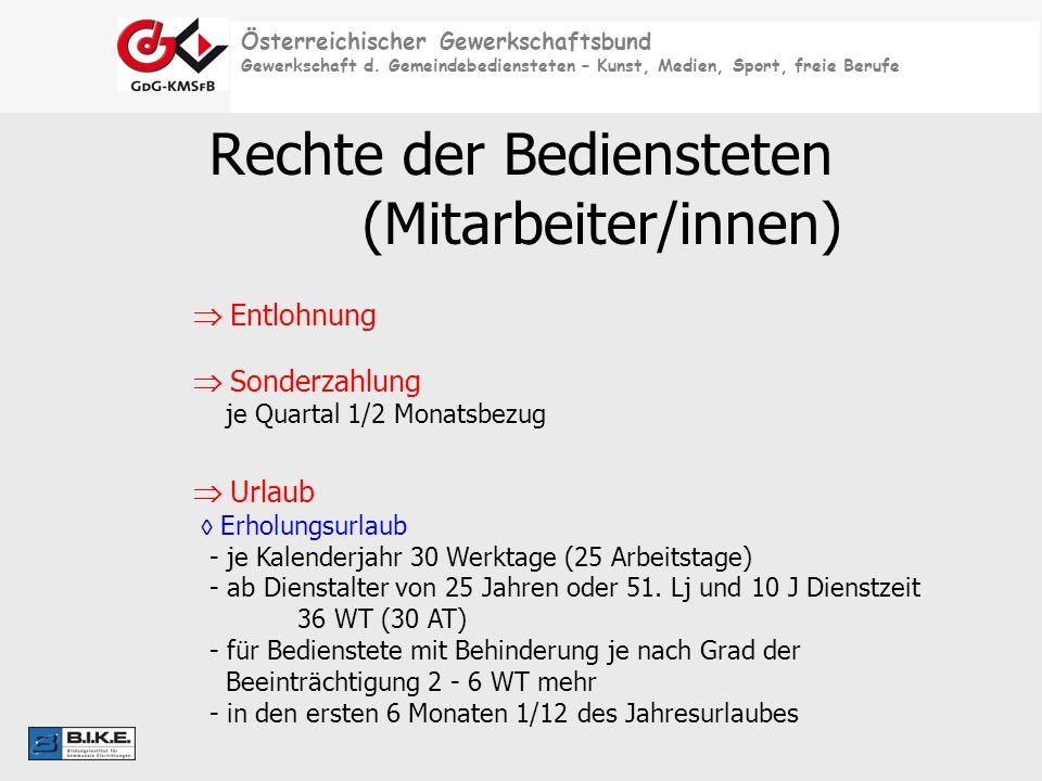 Rechte der Bediensteten (Mitarbeiter/innen)