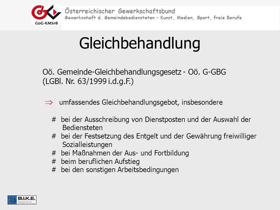 Gleichbehandlung Oö. Gemeinde-Gleichbehandlungsgesetz - Oö. G-GBG