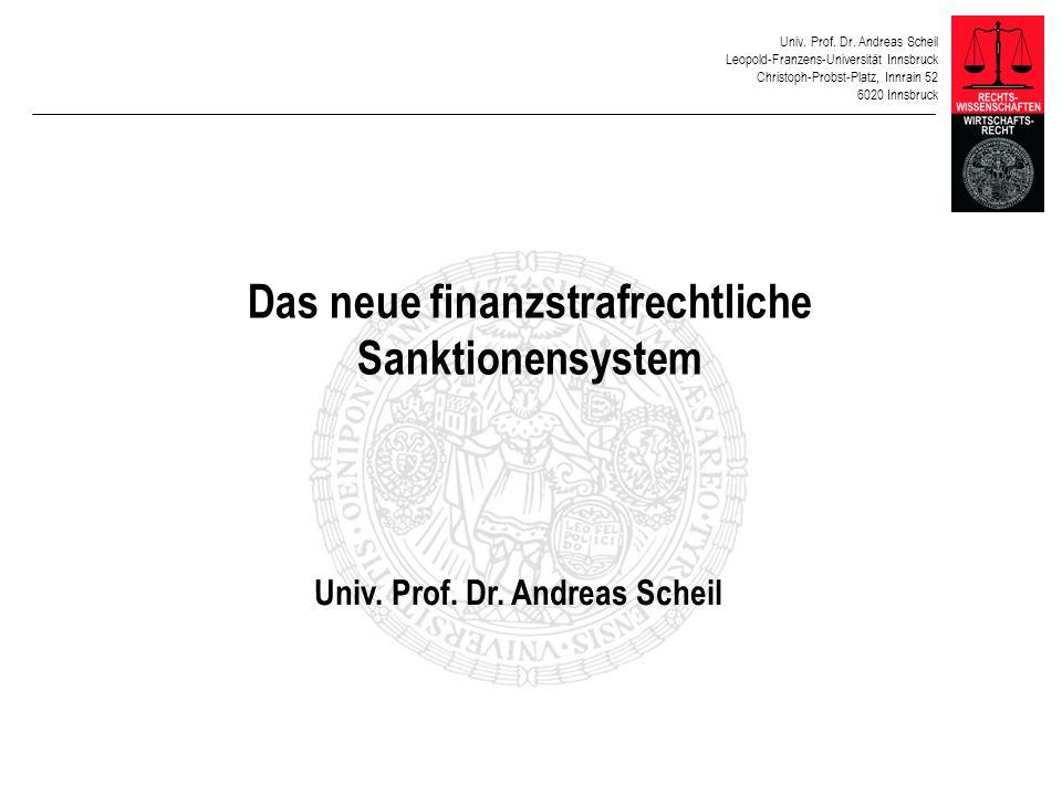 Das neue finanzstrafrechtliche Sanktionensystem