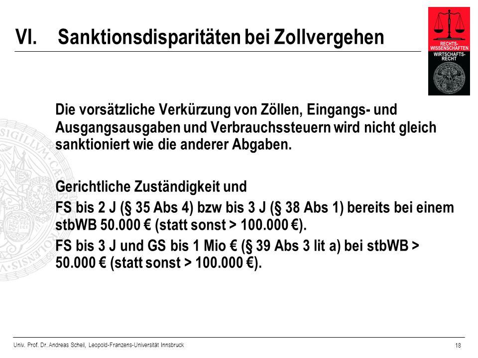 VI. Sanktionsdisparitäten bei Zollvergehen
