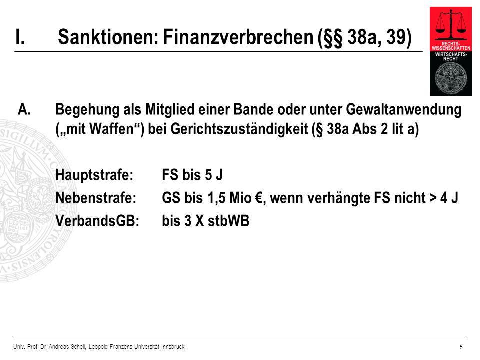 Sanktionen: Finanzverbrechen (§§ 38a, 39)
