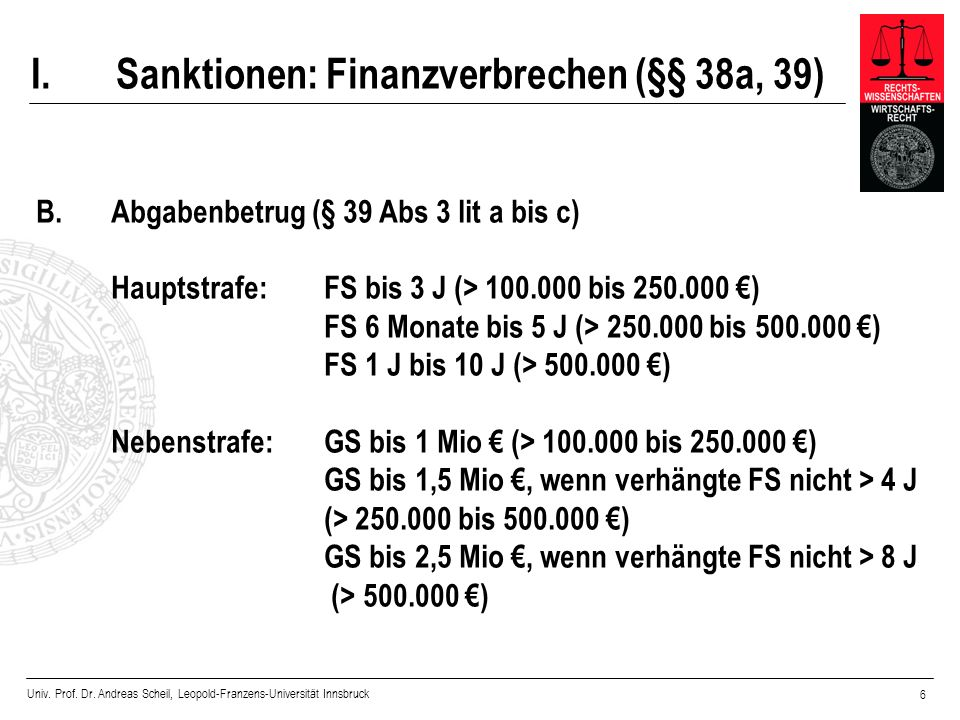 I. Sanktionen: Finanzverbrechen (§§ 38a, 39)