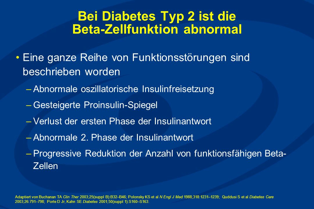 Bei Diabetes Typ 2 ist die Beta-Zellfunktion abnormal