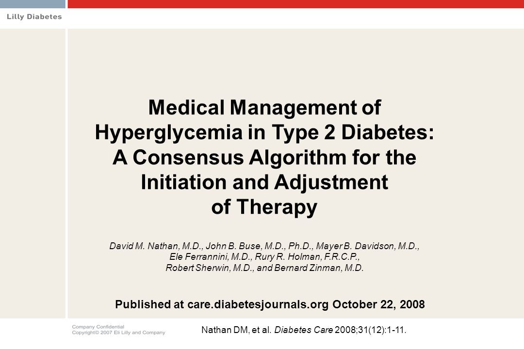 Hyperglycemia in Type 2 Diabetes: A Consensus Algorithm for the