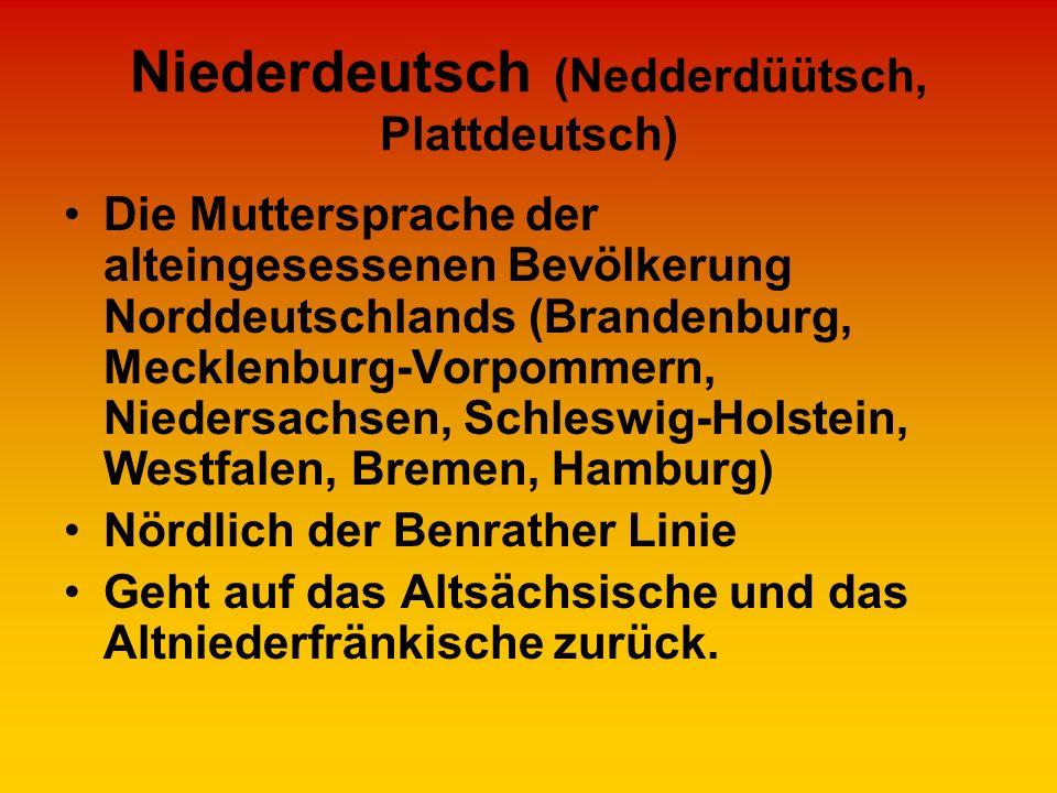 Niederdeutsch (Nedderdüütsch, Plattdeutsch)