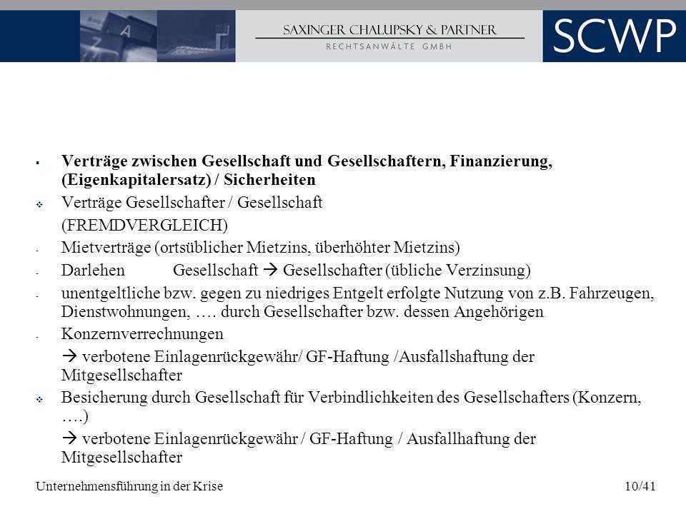Verträge Gesellschafter / Gesellschaft (FREMDVERGLEICH)
