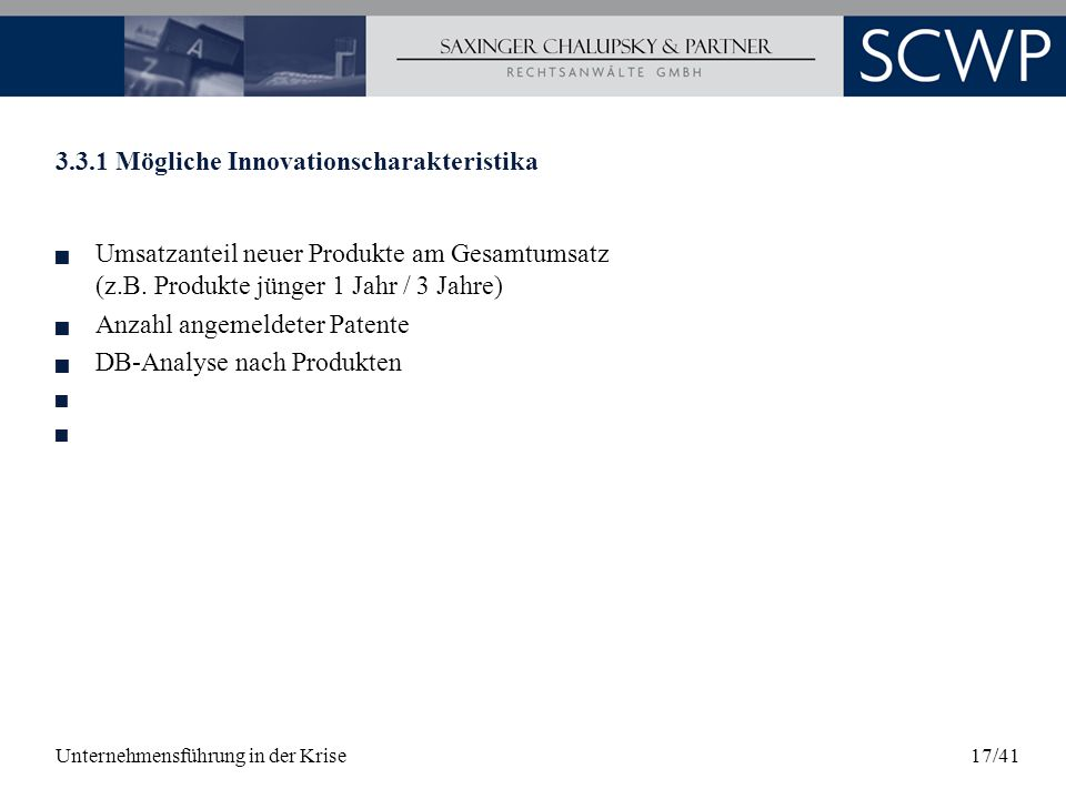 3.3.1 Mögliche Innovationscharakteristika