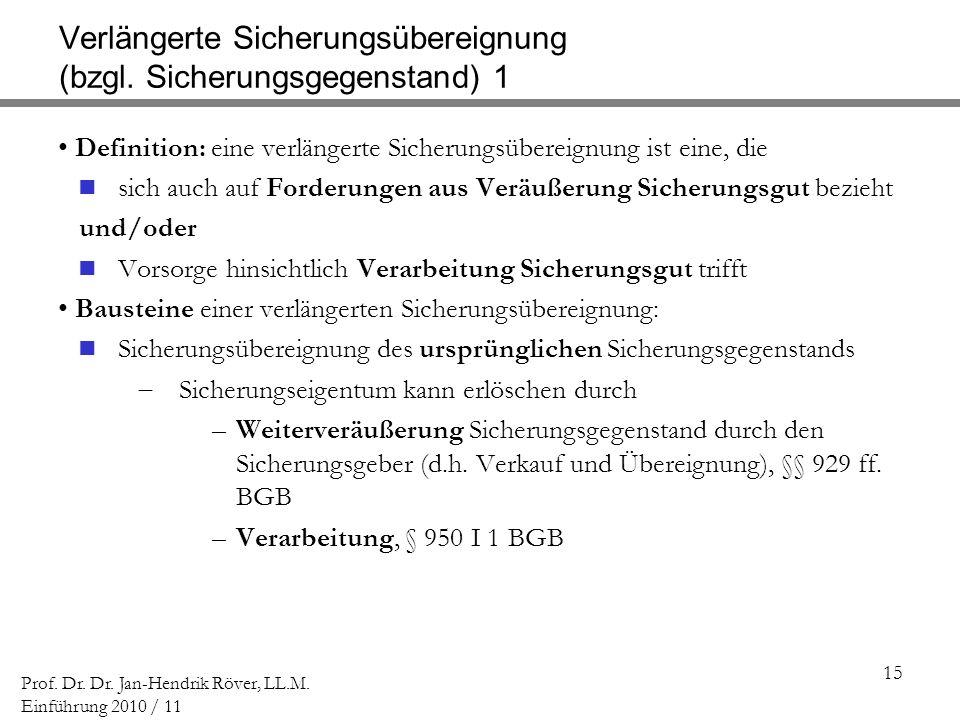 Verlängerte Sicherungsübereignung (bzgl. Sicherungsgegenstand) 1
