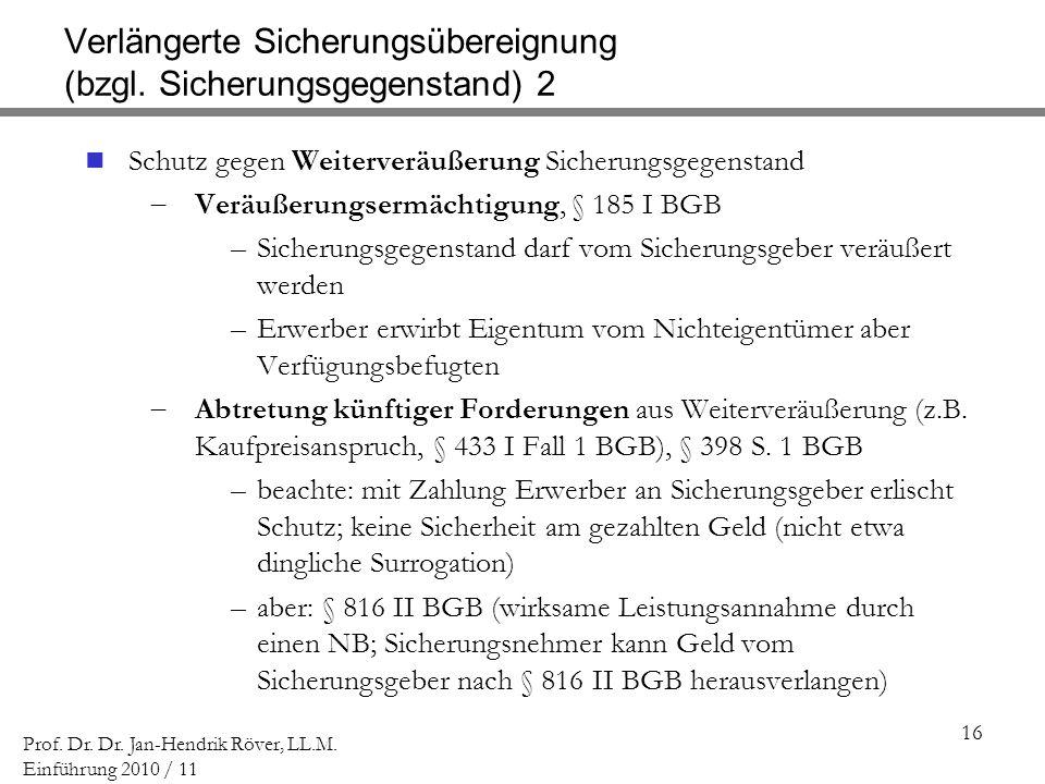 Verlängerte Sicherungsübereignung (bzgl. Sicherungsgegenstand) 2