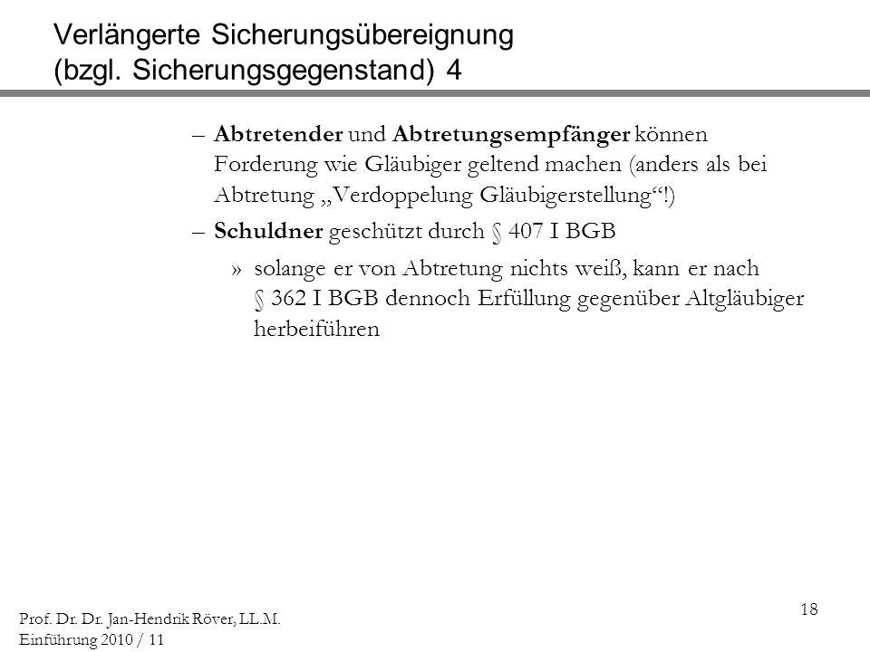 Verlängerte Sicherungsübereignung (bzgl. Sicherungsgegenstand) 4