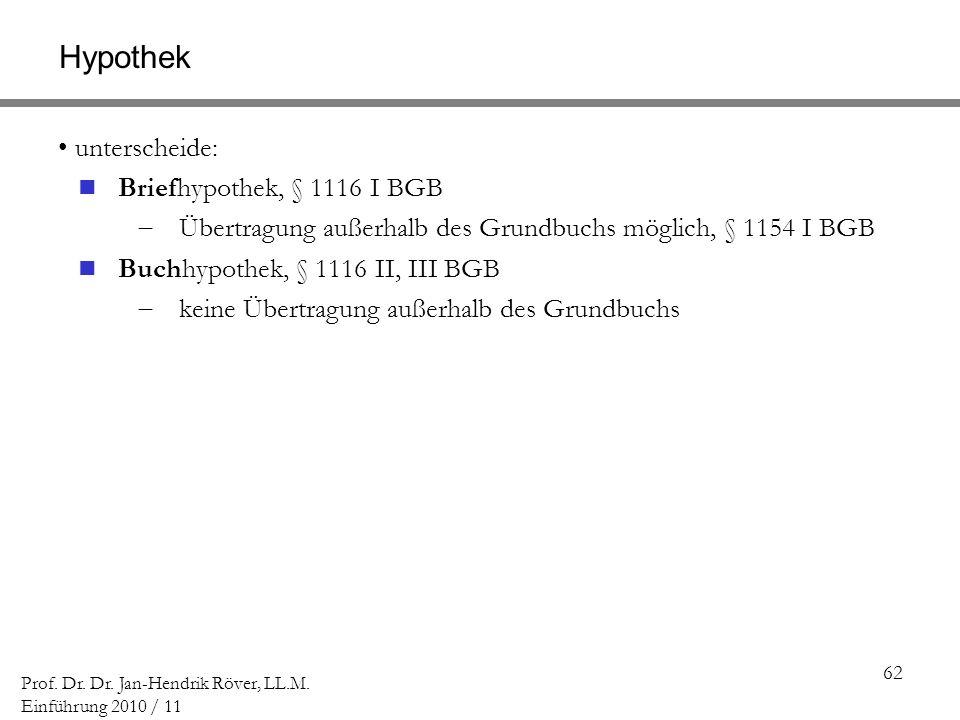 Hypothek Briefhypothek, § 1116 I BGB