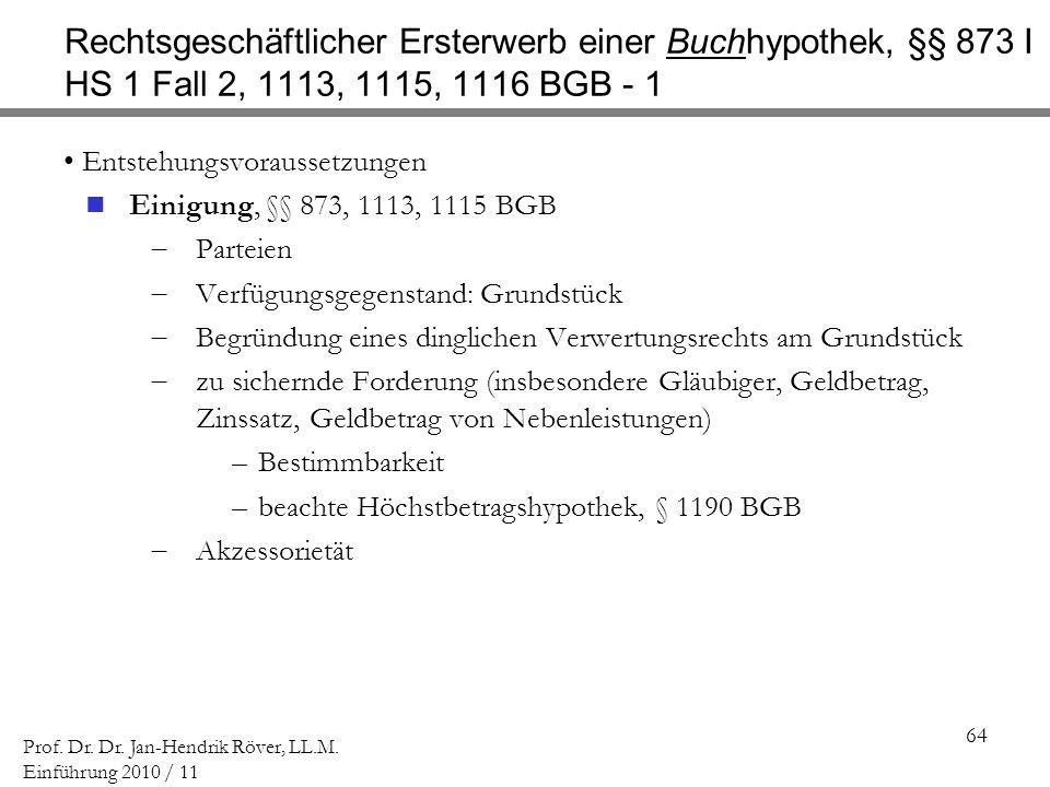 Rechtsgeschäftlicher Ersterwerb einer Buchhypothek, §§ 873 I HS 1 Fall 2, 1113, 1115, 1116 BGB - 1