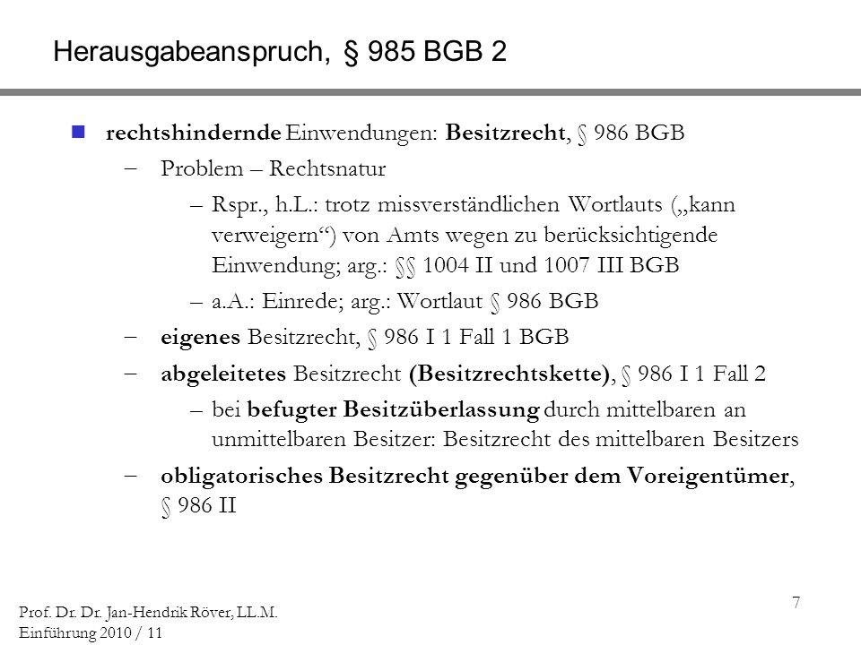 Herausgabeanspruch, § 985 BGB 2