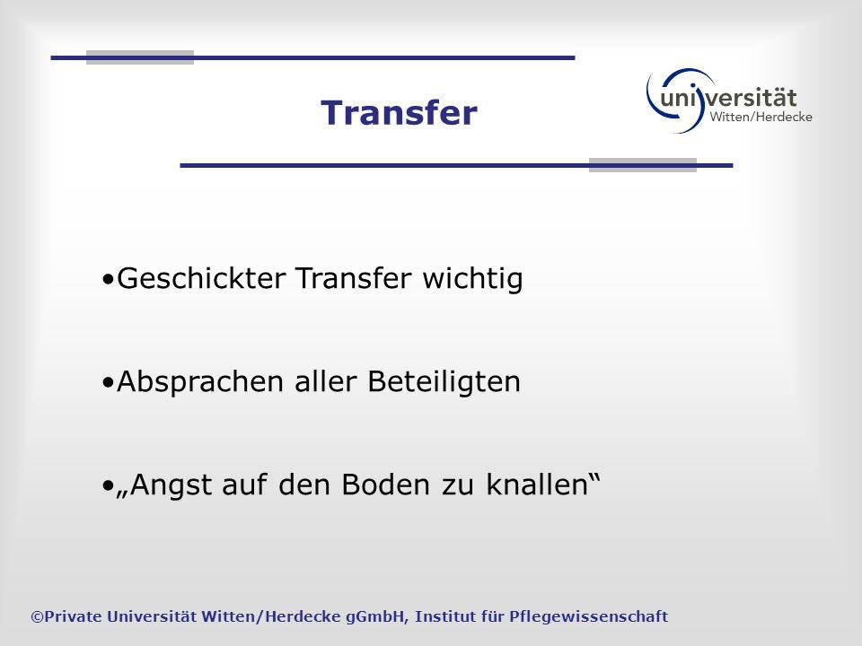 Transfer Geschickter Transfer wichtig Absprachen aller Beteiligten