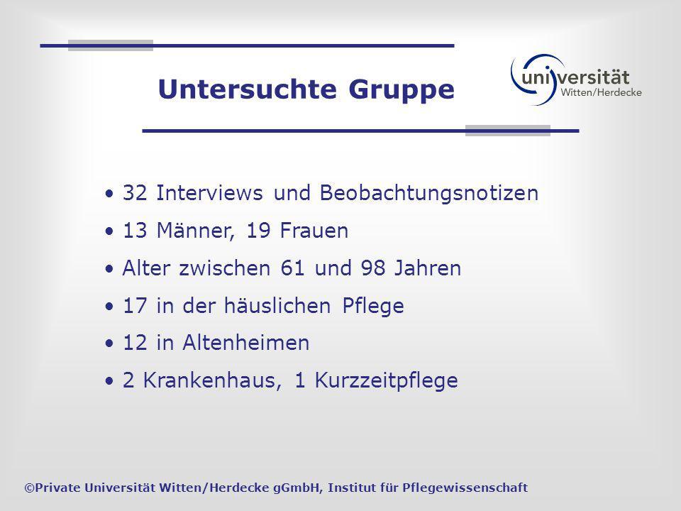 Untersuchte Gruppe 32 Interviews und Beobachtungsnotizen