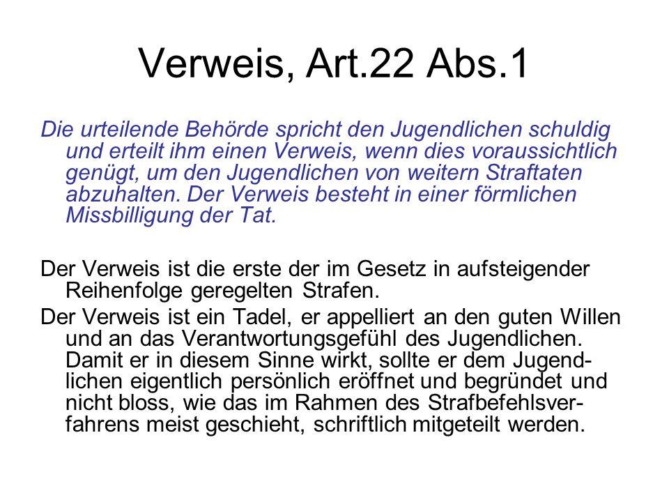 Verweis, Art.22 Abs.1