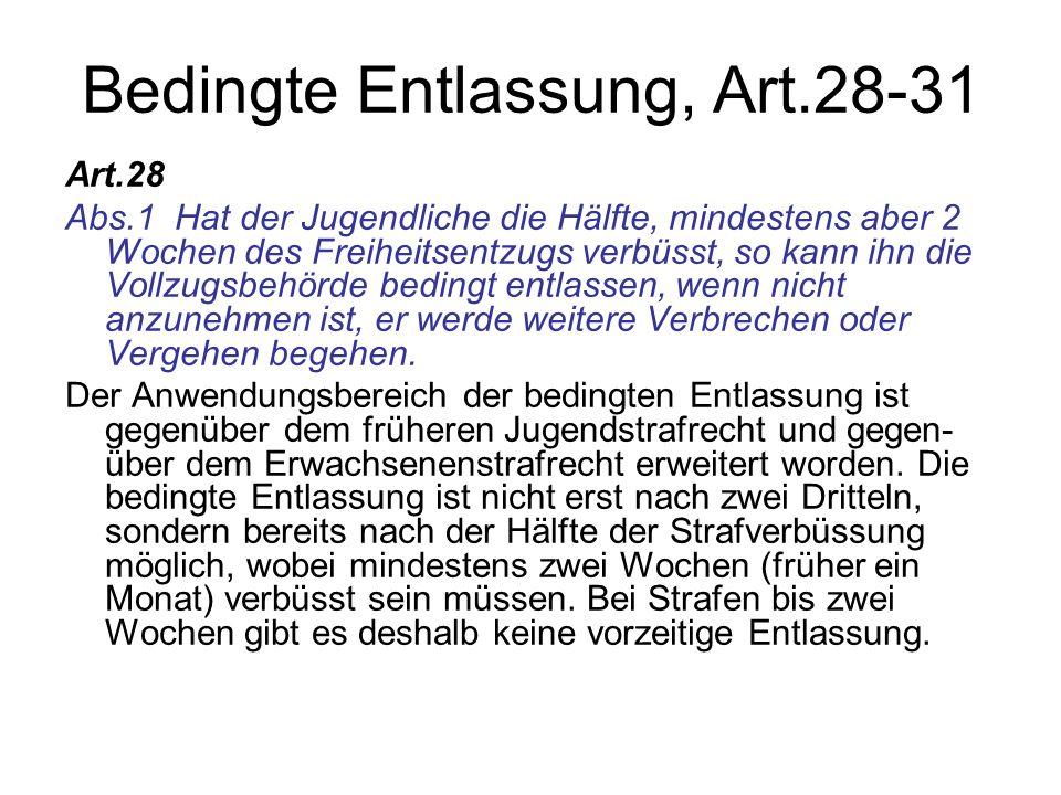 Bedingte Entlassung, Art.28-31
