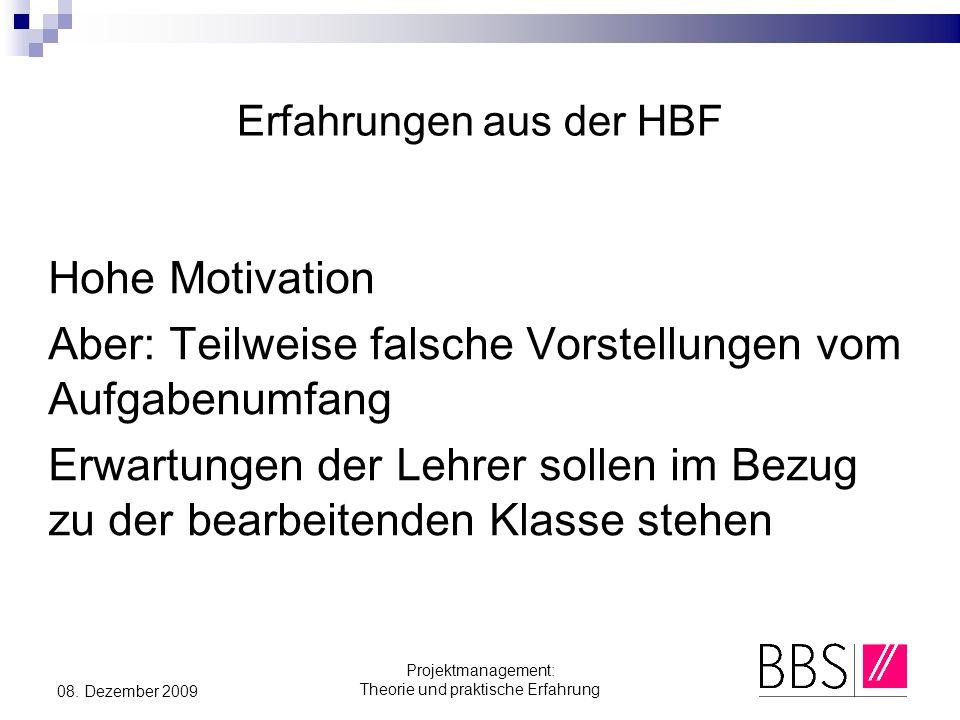 Erfahrungen aus der HBF