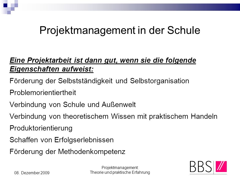 Projektmanagement in der Schule