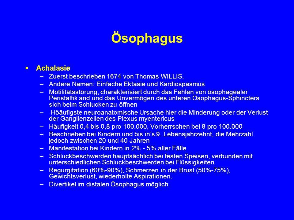 Ösophagus Achalasie Zuerst beschrieben 1674 von Thomas WILLIS.